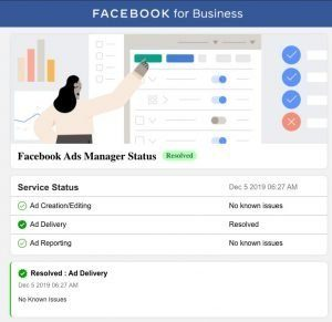 Ansicht des Facebook Ads Status Monitors