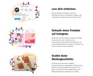 "W&S Weekly Special: Vorschau Instagram Business Seite ""The Season for Shops"" 